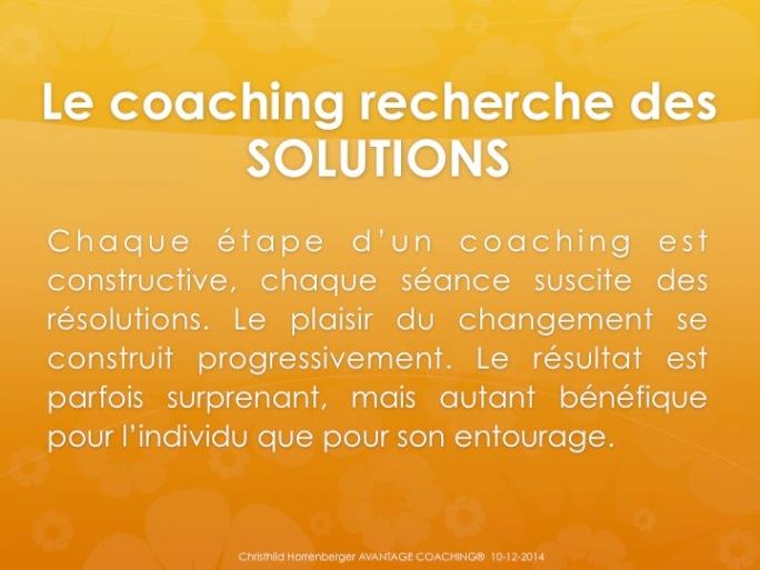 Le coaching recherche des solutions